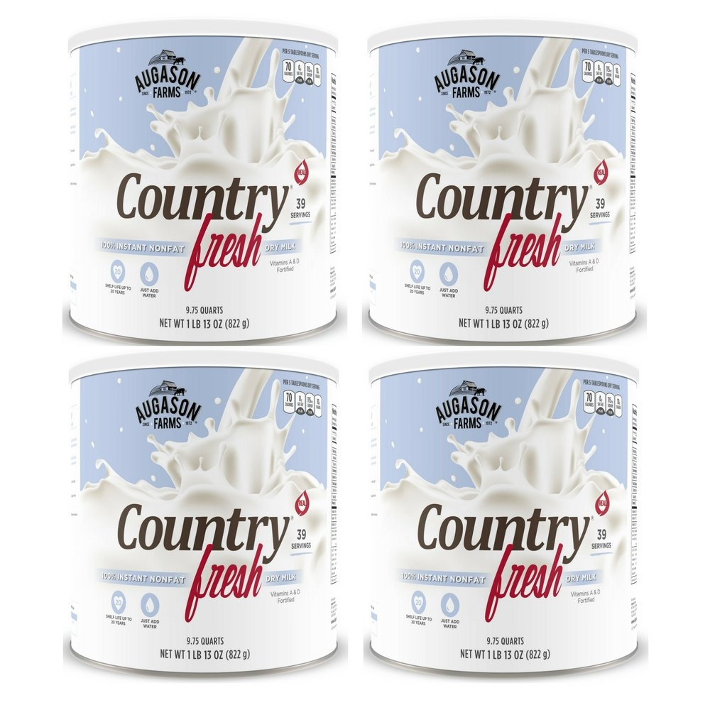 Augason Farms Country Fresh 100% Real Instant Nonfat Dry Milk 1 lb 13 oz No. 10 Can (4 pack)