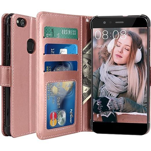 7 opinioni per Custodia Huawei P10 Lite, LK Case in Pelle PU di Lusso Portafoglio con Fessure