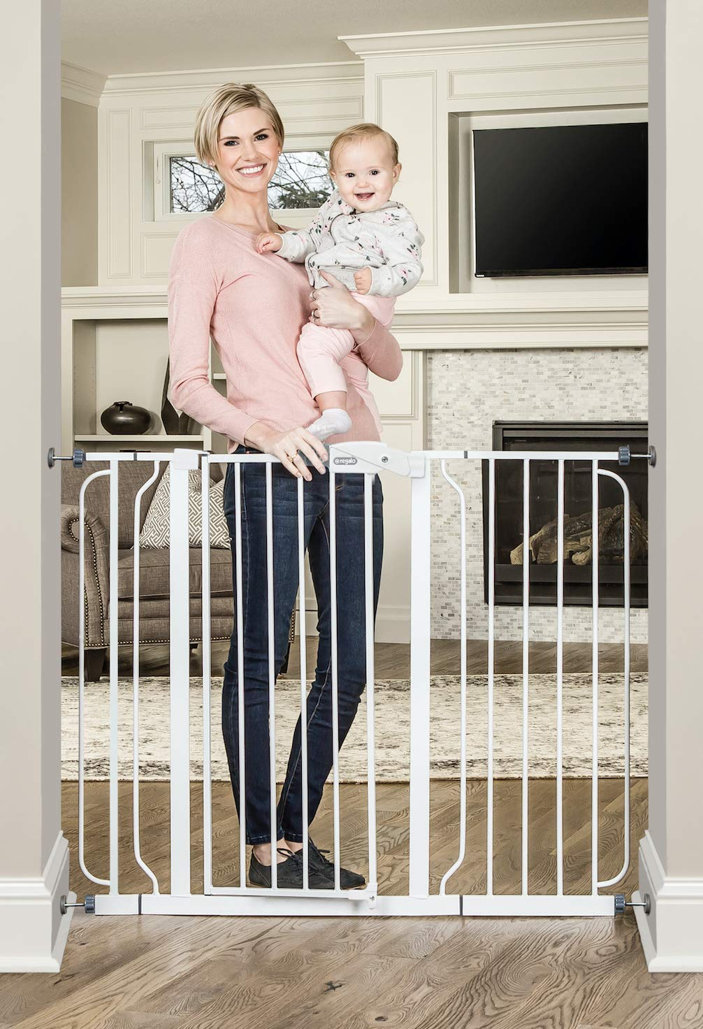 Regalo 38-Inch Extra Tall and 49-Inch Wide Walk Thru Baby Gate, Includes 4-Inch and 12-inch Extension Kit, 4 Pack of Pressure Mount Kit and 4 Pack of Wall Mount Kit by Regalo