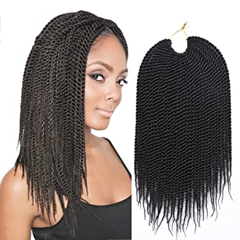 14inch 30strands/pack Synthetic Hair Extensions Crochet Braids 7Packs/lot High Tempreture Fiber Senegalese Twist 2X Crochet Braid Hair for Black Women (1B)