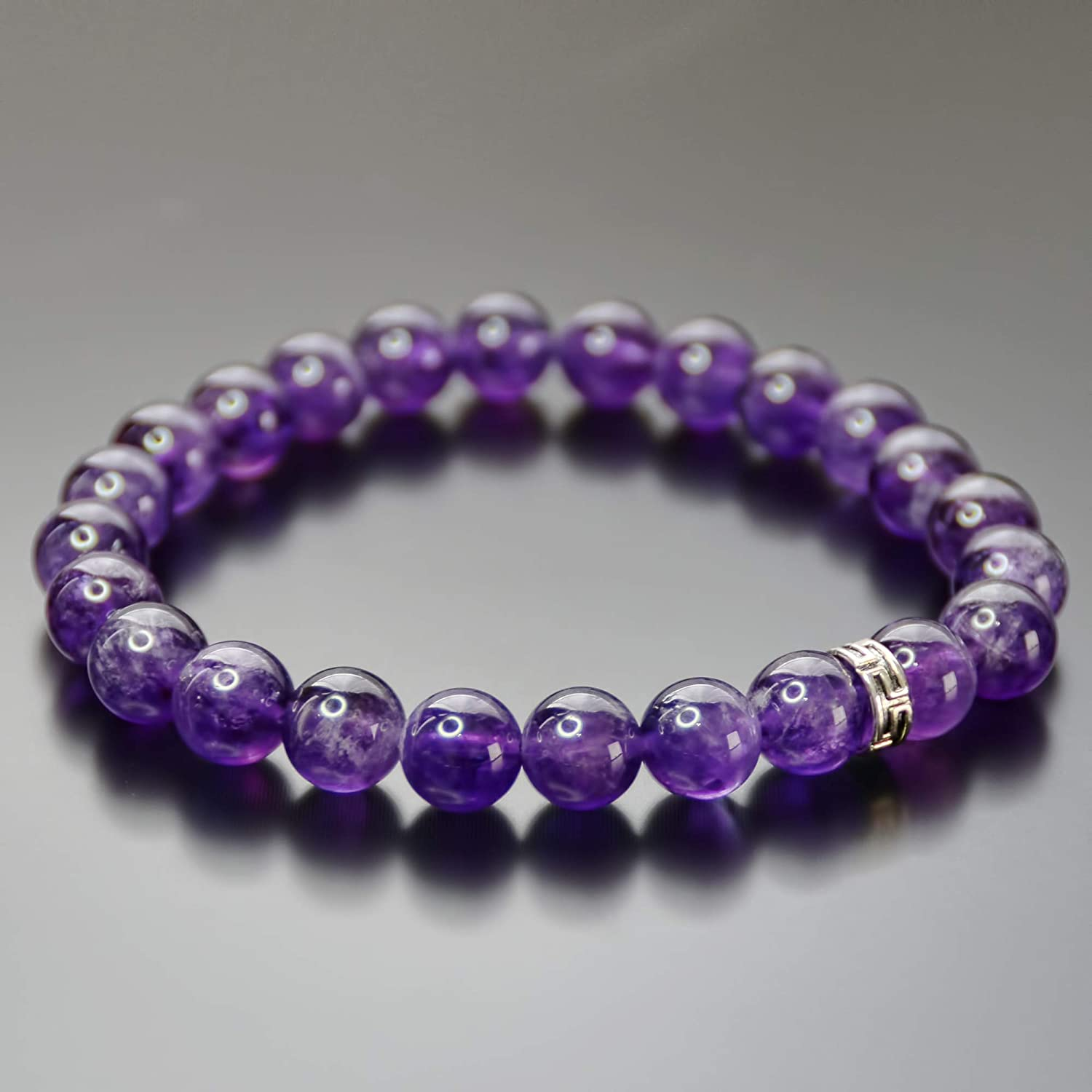Purple Amethyst Crystal Chakra Bead Stretch Bracelet Jewelry Anxiety Stress Relief Gift for Her Women 8mm