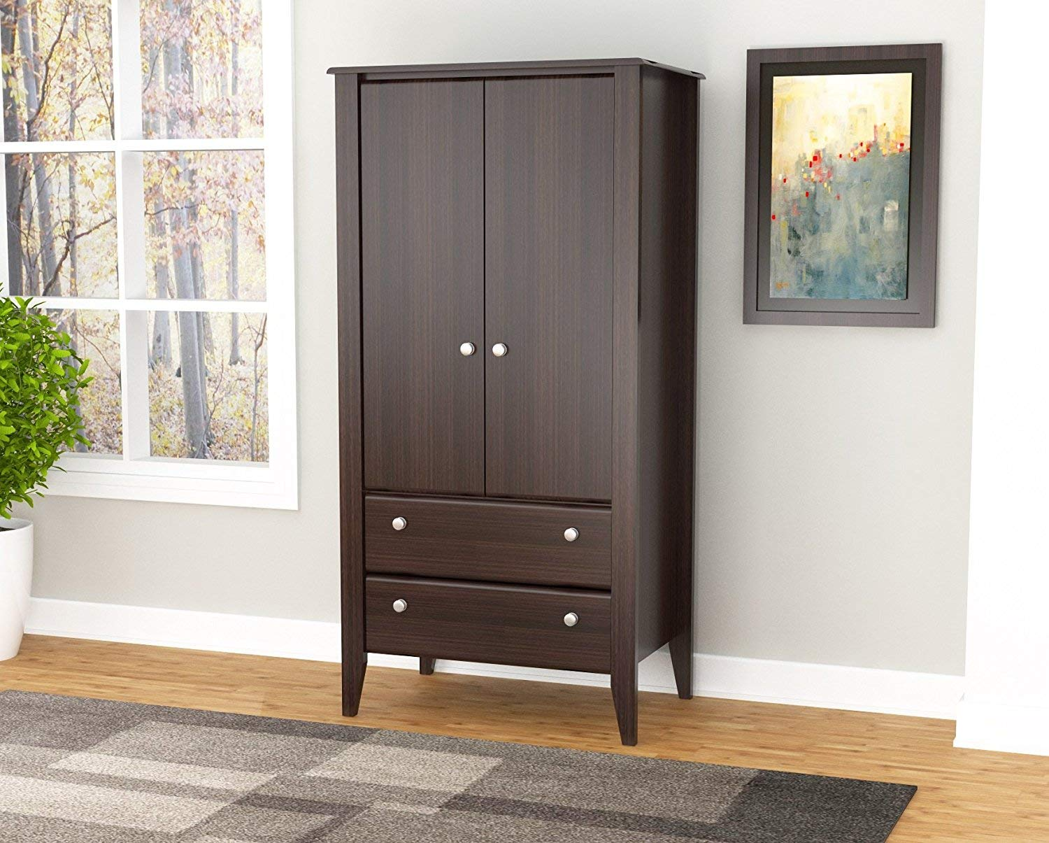 Inval AM-17723 Espresso Wengue Wood Two Door and Drawer Armoire by Inval