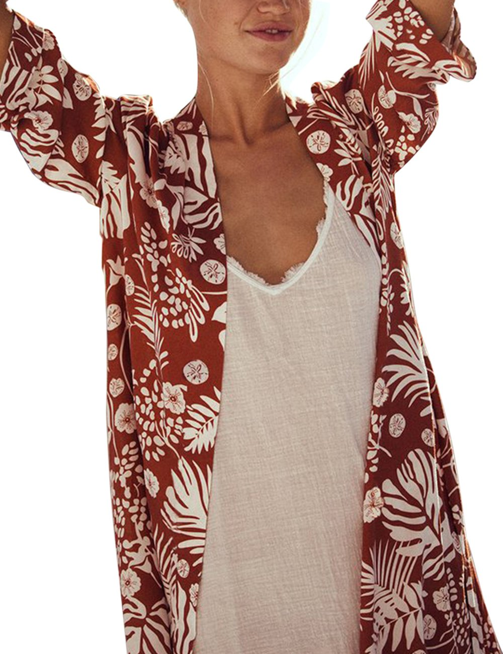 shermie Women's Floral Leaf Print Kimono Cardigan Cover up Swimwear with Belt Rust Red by shermie (Image #2)