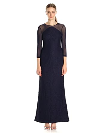 in mesh adrianna papell drape purple lyst yoke drapes lace gown