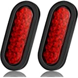 6 Inchs Oval Trailer Lights, Super Bright Red 24LED Brake Turn Stop Marker Reverse Tail Lights with Waterproof Rubber Gaskets for Boat Trailer Truck RV [DOT Certified] [IP67] (2 Pack)