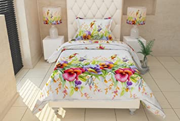 SinghsVillas Decor Cotton 5D FLORAL SINGLE BEDSHEET with 1 PILLOW COVER,90x60-inch(White)