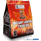 2 Pack (X2, 1KG bags) of Instant Light The Bag BBQ Charcoal for Stoves BBQs Burner - Comes With THE CHEMICAL HUT® Anti-Bacterial Pen!