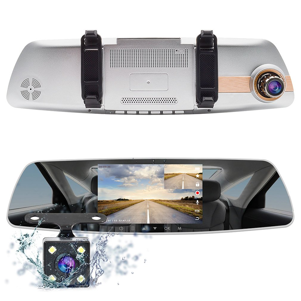 Accfly ドライブレコーダー バックミラー型 前後カメラ 前後同時録画 タッチパネル 暗視 駐車監視 上書き録画 5インチ 1080PフルHD 170度広角レンズ Gセンサー