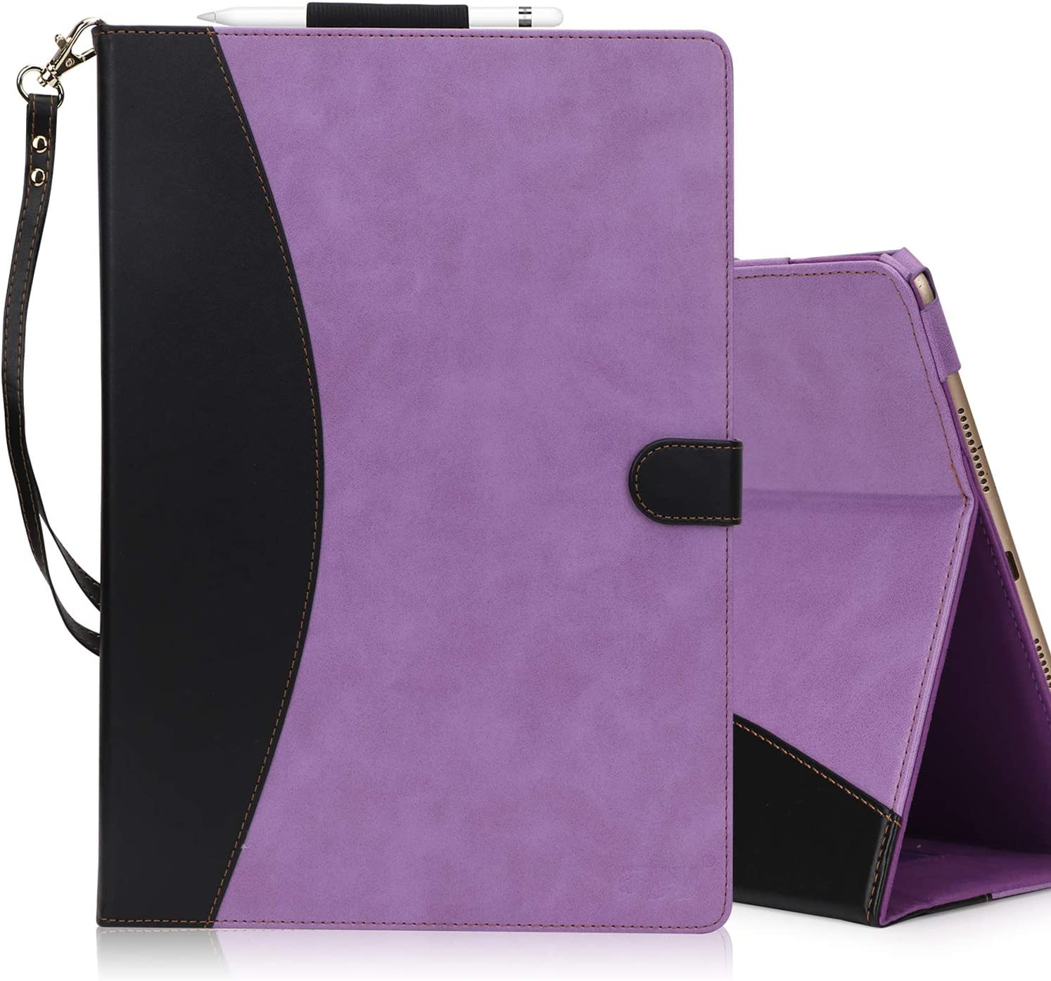FYY [Leather Case] with [Apple Pencil Holder] for 2019 iPad Air 3 10.5/2017 iPad Pro 10.5 inch Case, Flip Folio Stand Case Protective with [Auto Sleep Wake],Multiple Stand Angles, Card Slots Purple