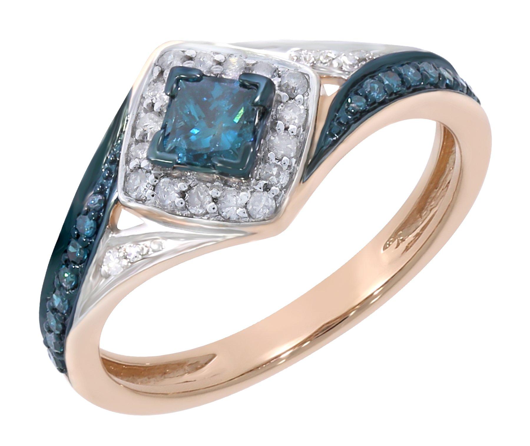 Prism Jewel 0.50Ct Princess & Round Shaped Blue Diamond & Diamond Engagement Ring, 10k Rose Gold Size 6