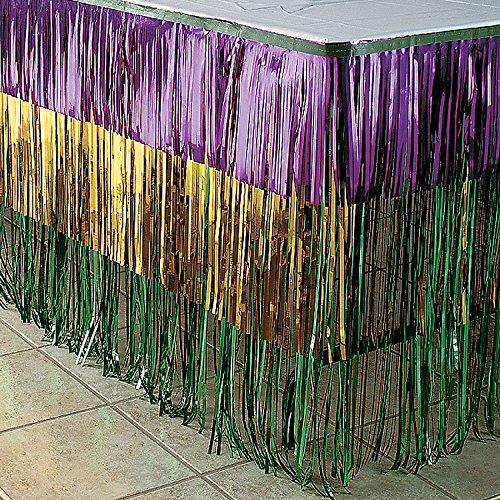 Fun Express - Mardi Gras Fringe Tableskirt for Mardi Gras - Party Supplies - Table Covers - Table Skirts - Mardi Gras - 1 Piece ()