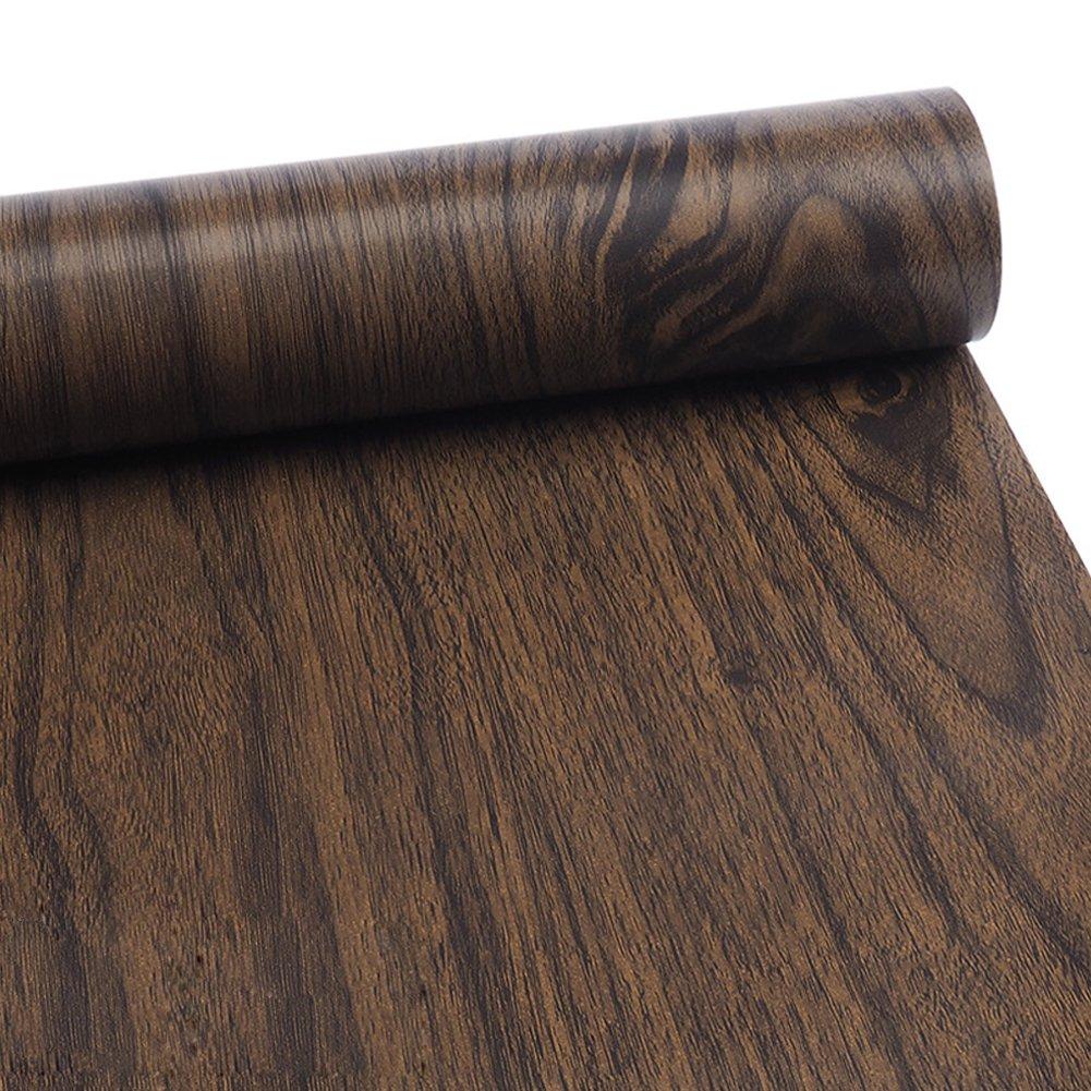 HaloVa Adhesive Contact Paper, Decorative Self-Adhesive Film, Wood Grain Shelf and Drawer Liner Table Door Sticker, Black Walnut