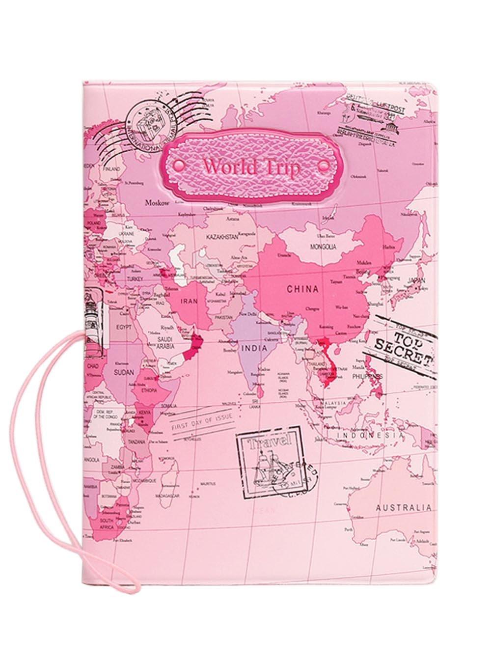 MMY-Organisateur de Voyage en Nylon Imperméable avec ferméture- pour Pochette/ Passeport/ Papiers d'identité/ Cartes/ Billet/ Monnais/ Document-Carte du monde-Rose passport-002