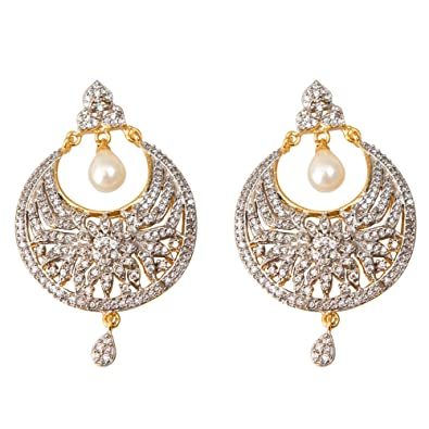 a9ef1ace4 Buy Taj Pearl Stylish Fancy Party Wear Designer American Diamond Earrings  For Women & Girls/High Quality Fashion Jewellery Online at Low Prices in  India ...