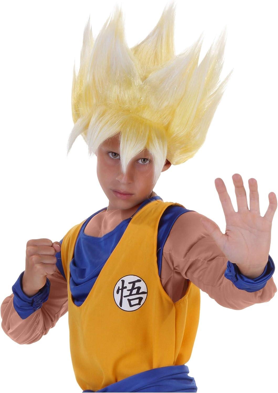 funcostumes niño peluca super Saiyan Goku - Amarillo -: Amazon.es ...