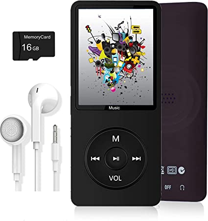 Photo Viewer MP3 Player Dyzeryk Music Player with 16GB Micro SD Card,Ultra Slim Music Player with Build-in Speaker Video Play FM Radio Voice Recorder,E-Book Reader,Supports up to 128GB