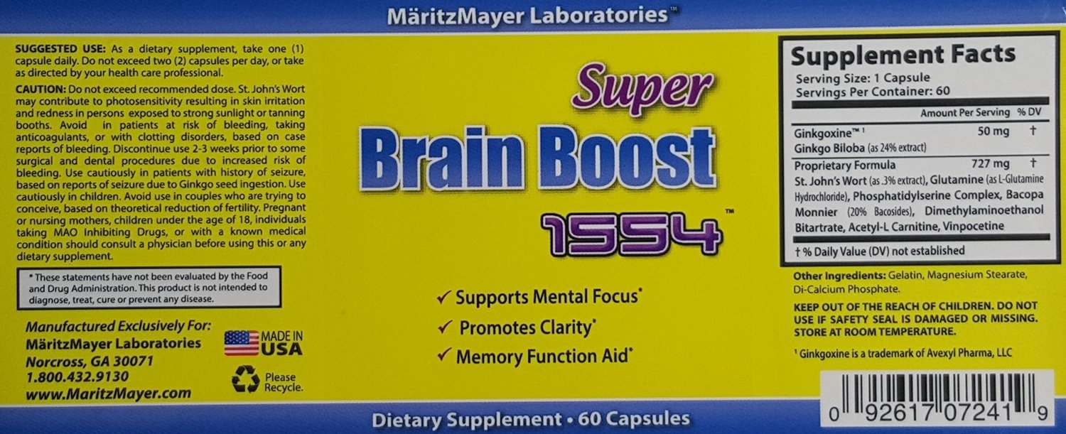 Brain Supplement Nootropic Super Brain Boost 1554 Improve Focus Calrity Memory Concentration Contains Ginkgo Biloba St. John's Wort Bacopa Monniera DMAE 60 Capsules