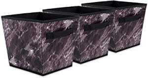 DII Polyester Foldable Trapezoid Laundry Organizing Cube Basket Bin, Medium, Set of 3, Black Marble