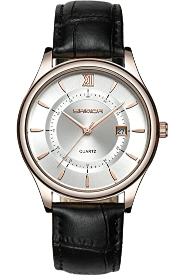 Reloj de pulsera para hombre, estilo casual, elegante, de piel, con fecha