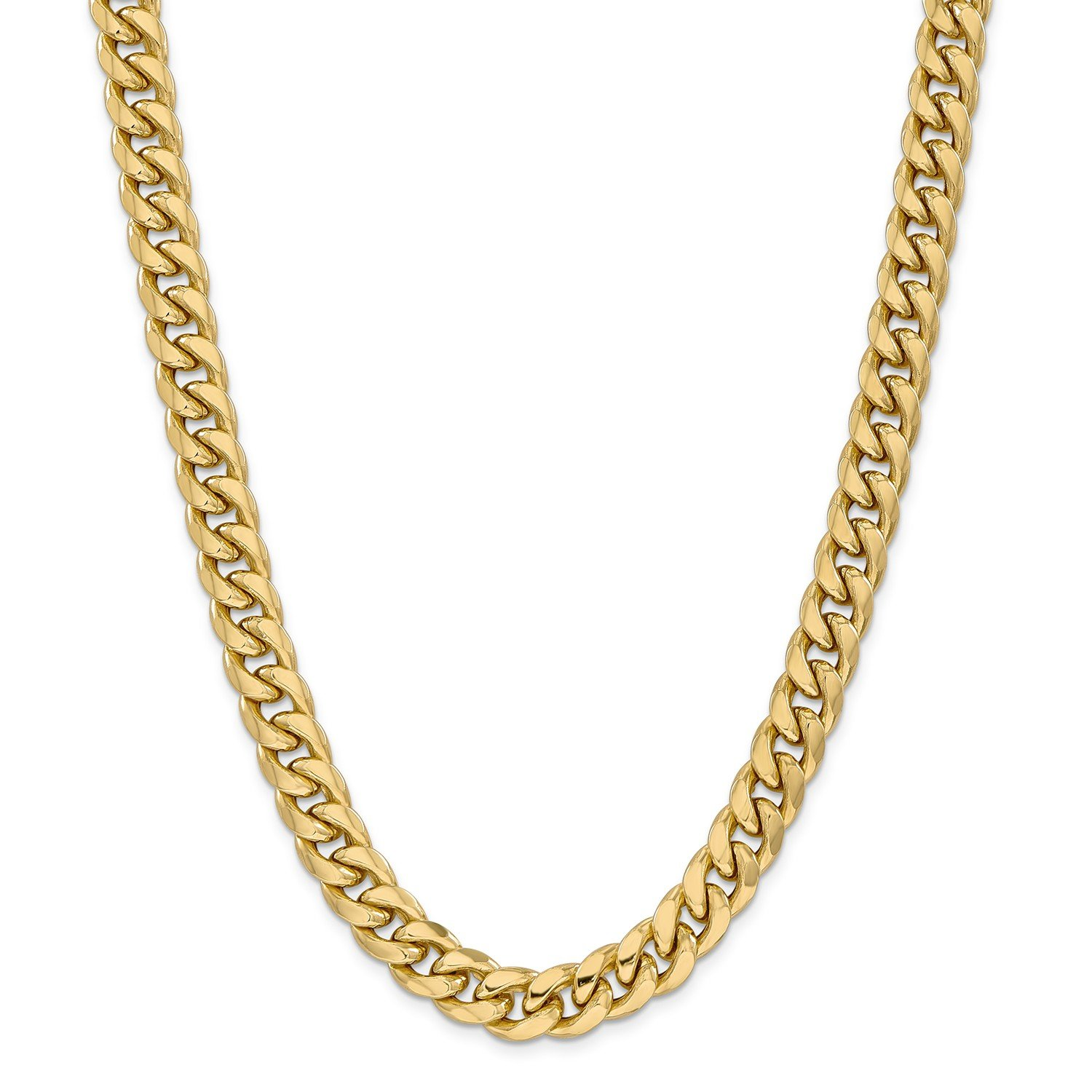 Roy Rose Jewelry 14K Yellow Gold Hollow Miami Cuban Chain Necklace ~ Length 24'' inches