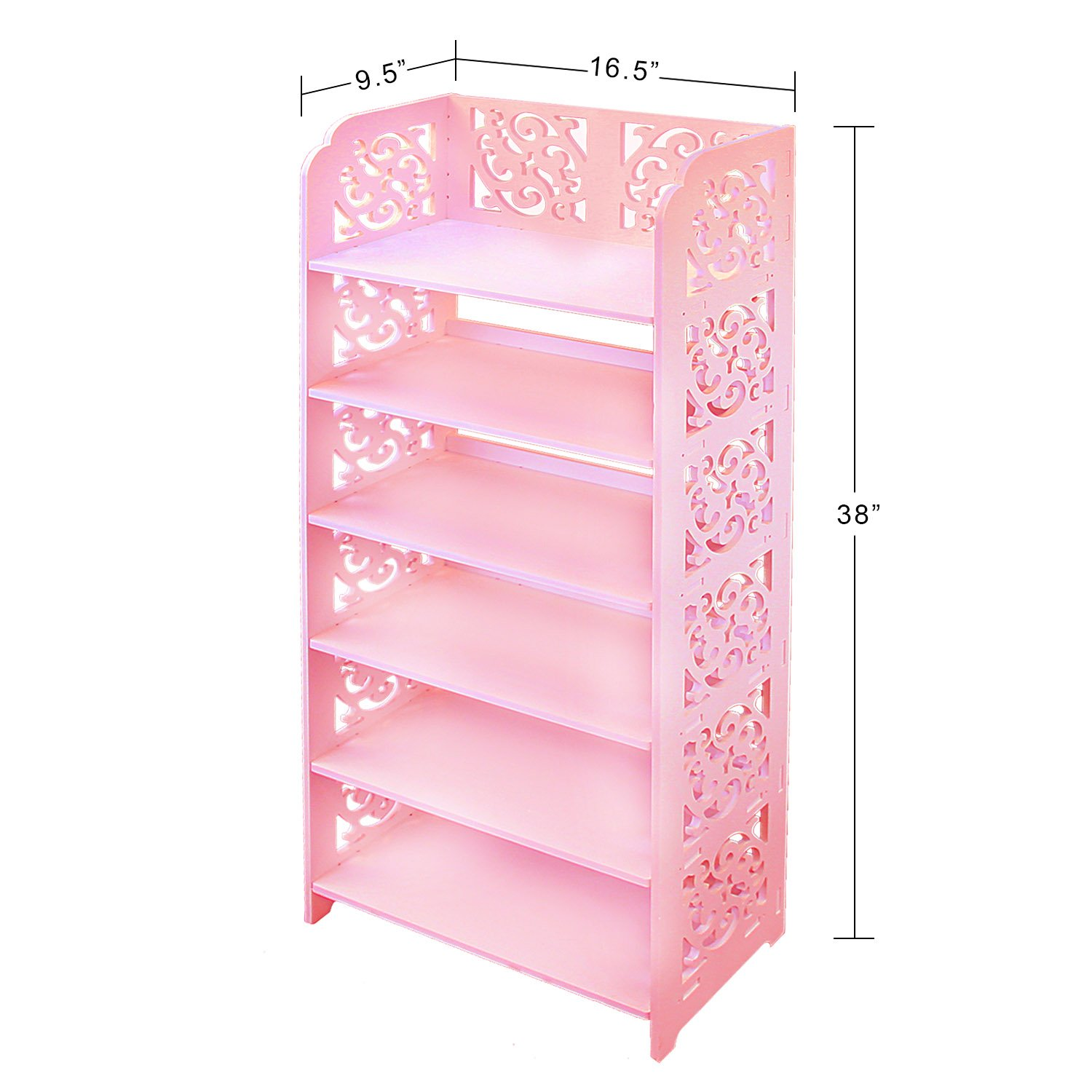 DL furniture WPC Tall 6 Tier Multipurpose Shoe Rack & Book Shelf L16.5 x W9.5 x H38 Environmental Friendly Material | Pink by DL furniture (Image #3)