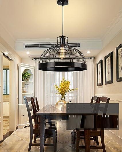 LOFT lámpara colgante redondo negro hierro jaula Pantallas ...