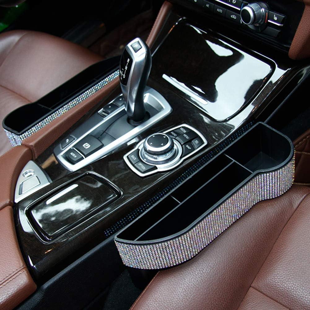 eing Bling Crystal Car Seat Catcher Gap Filler Organizer Side Slit Pocket Coin Side Pocket Console Side Pocket Car Organizer Storage Box
