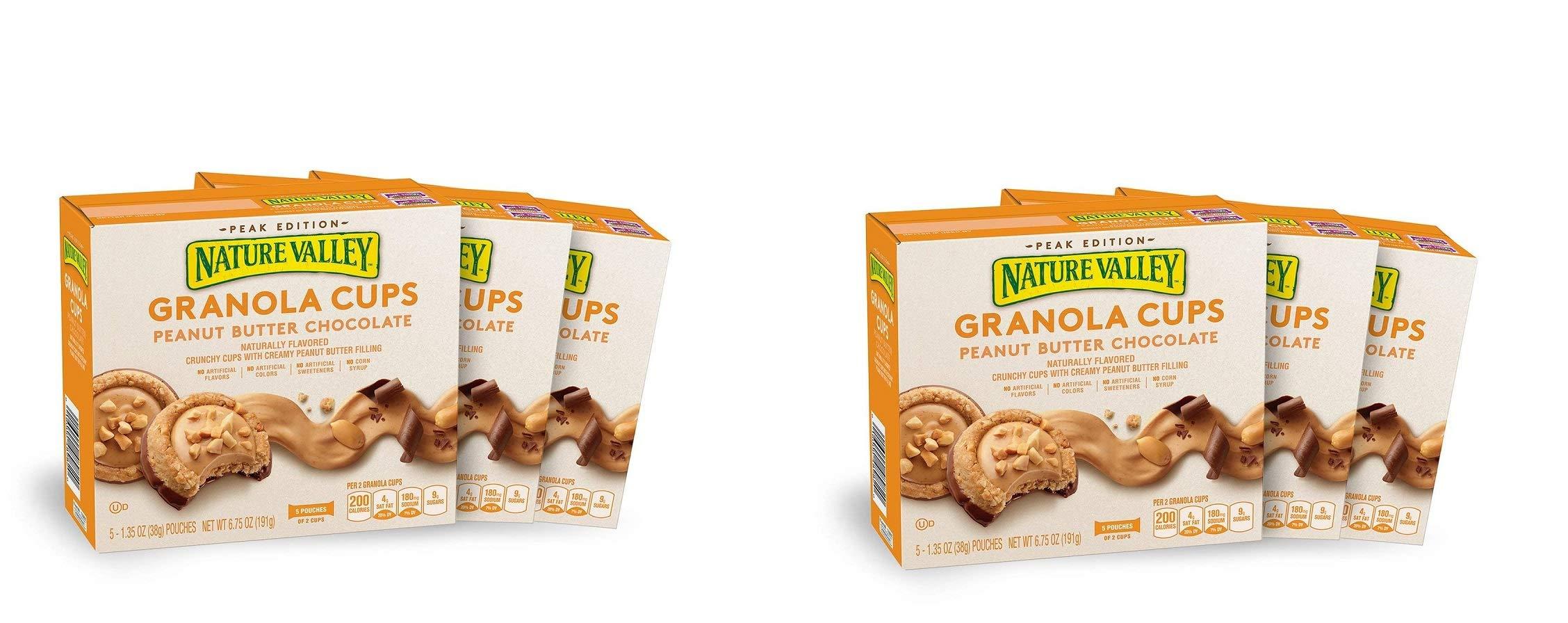 Nature Valley Peak Edition Granola Cups, Peanut Butter, 5 Pouches, 1.2 oz, (6 Boxes)