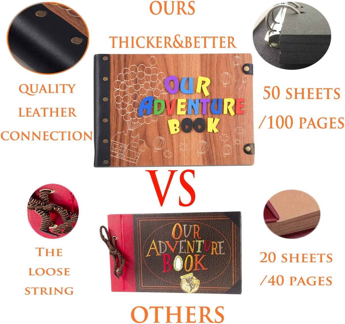 Our Adventure Book with 3D Wood Letters Cover Movie Up DIY Handmade Photo Album with 50 Sheets//100 Pages,Abundant Accessories for Anniversary Valentines Wedding Travelling Tebik Photo Album Scrapbook