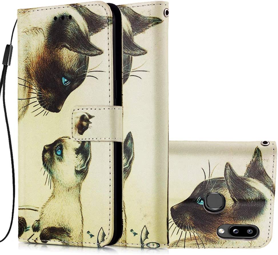 Miagon for Samsung Galaxy A20S Wallet Case,PU Leather Folio Flip Cover with Stand Card Slots Magnetic Closure,Fox