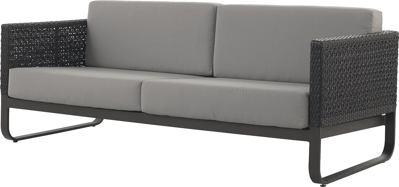 Gartenmöbelset Sofa, aluminium, Walnuss inkl. Sitzkissen, Hellgrau