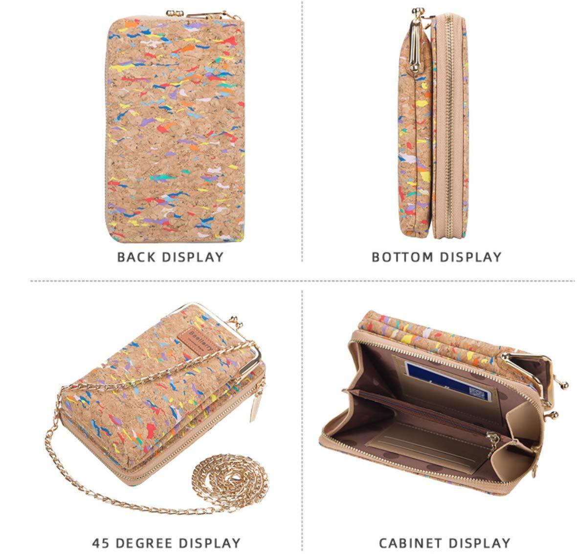 MILASIA Praktisk axelväska – dam axelväska kork liten väska dam retro plånbok pass mobiltelefonficka, lämplig för mobiltelefoner under 7 tum en storlek 9 17