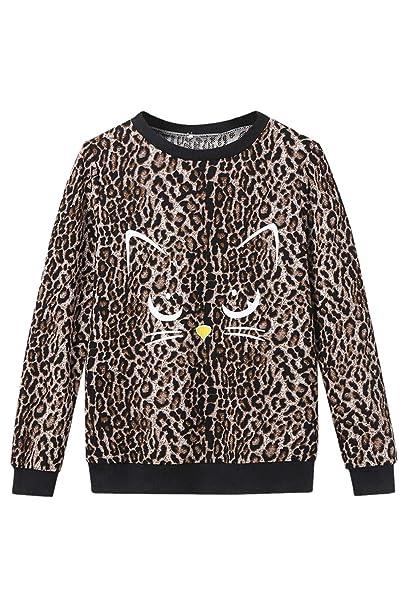 Jumojufol Mujeres Leopardo Sudaderas Cuello Redondo Lindo Gato Casual Tops: Amazon.es: Ropa y accesorios