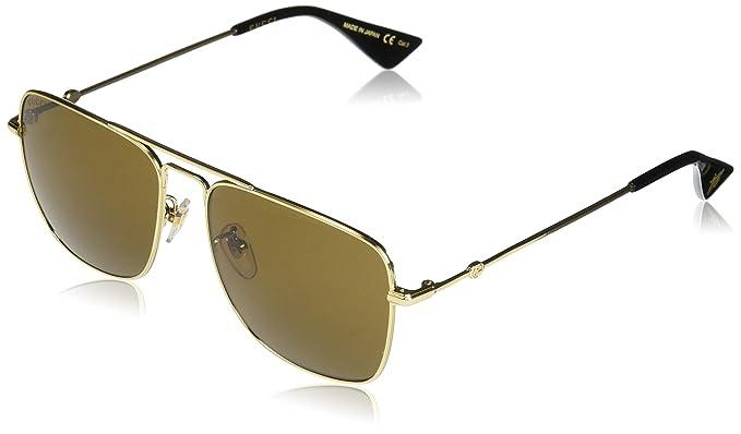 Gucci Herren Sonnenbrille GG0108S 001, Gold (Gold/Brown), 55