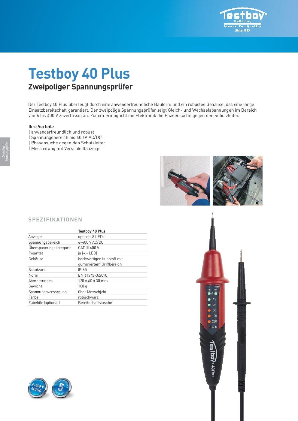 Gleich- und Wechselspannung zweipoliger Spannungsprüfer Testboy 40 Plus