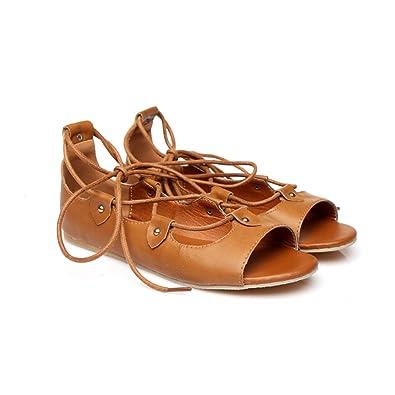 e1237b4f9 Sandals, Audrey Hepburn-Roman Holiday Gladiator, Vegan Leather, Brown (Euro  35