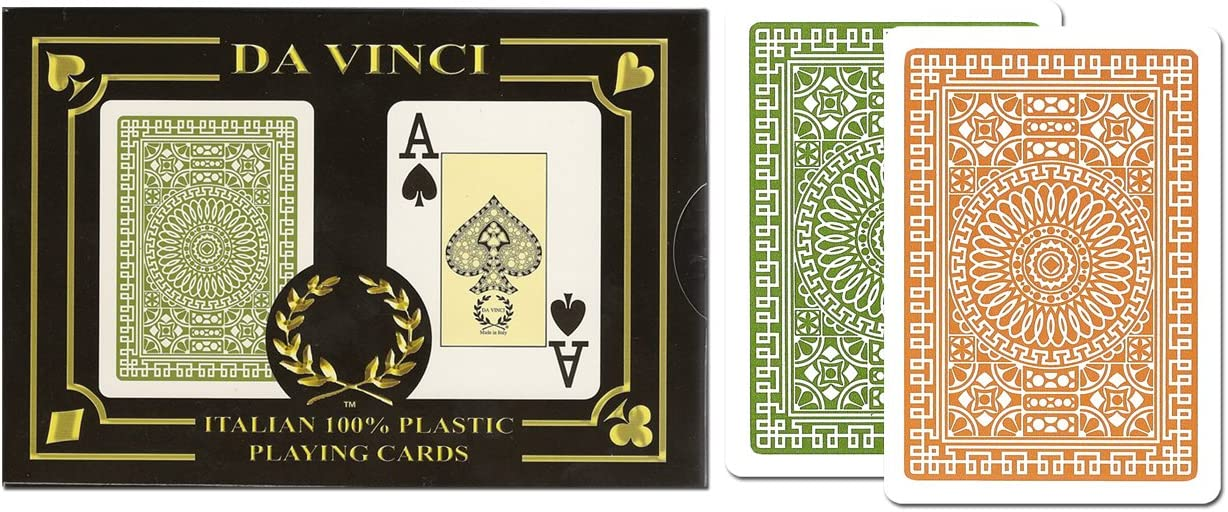 DA VINCI Italian 100% Plastic Playing Cards, 2 Deck Set with Hard Shell Case and 2 Cut Cards (Bridge Size Jumbo Index)