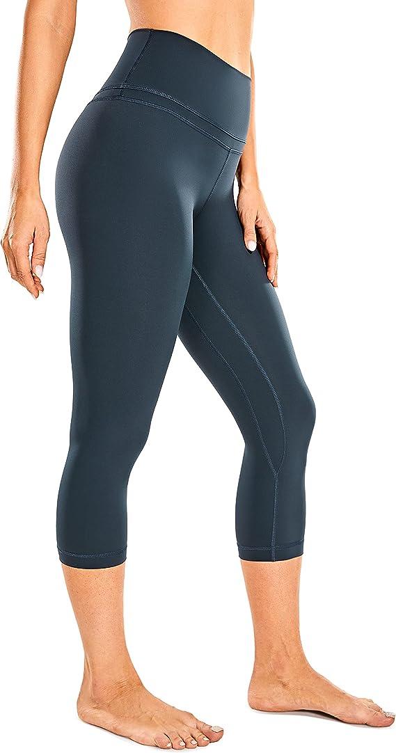 CRZ YOGA Women's Naked Feeling Workout Leggings 19 Inches - High Waist Crop Capri Pants