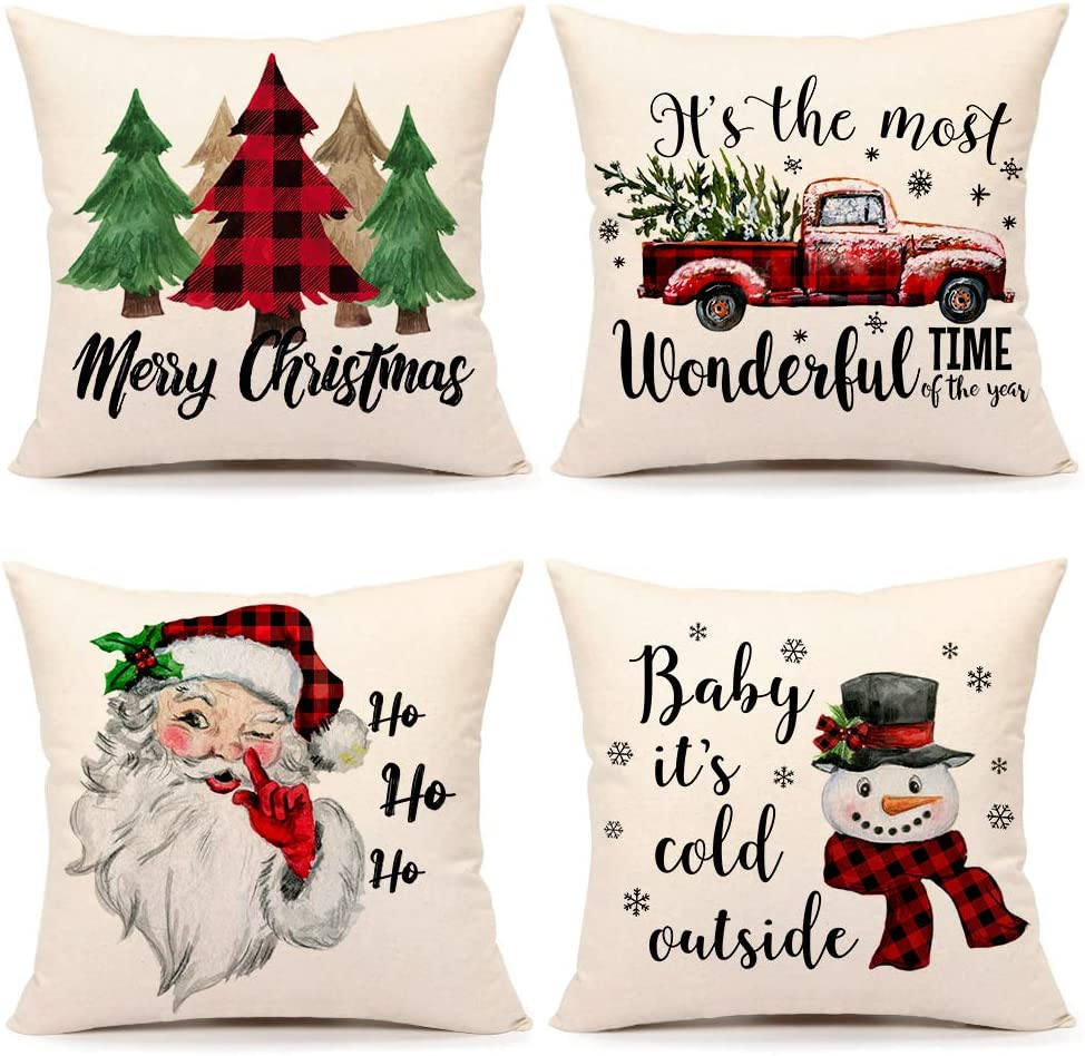 Christmas Pillow Covers 20x20 Set of 4 Farmhouse Christmas Decor Red Black Buffalo Plaids Winter Holiday Decorations Throw Cushion Case for Home Couch(Tree, Rustic Truck, Santa Claus, Snowman Quote)