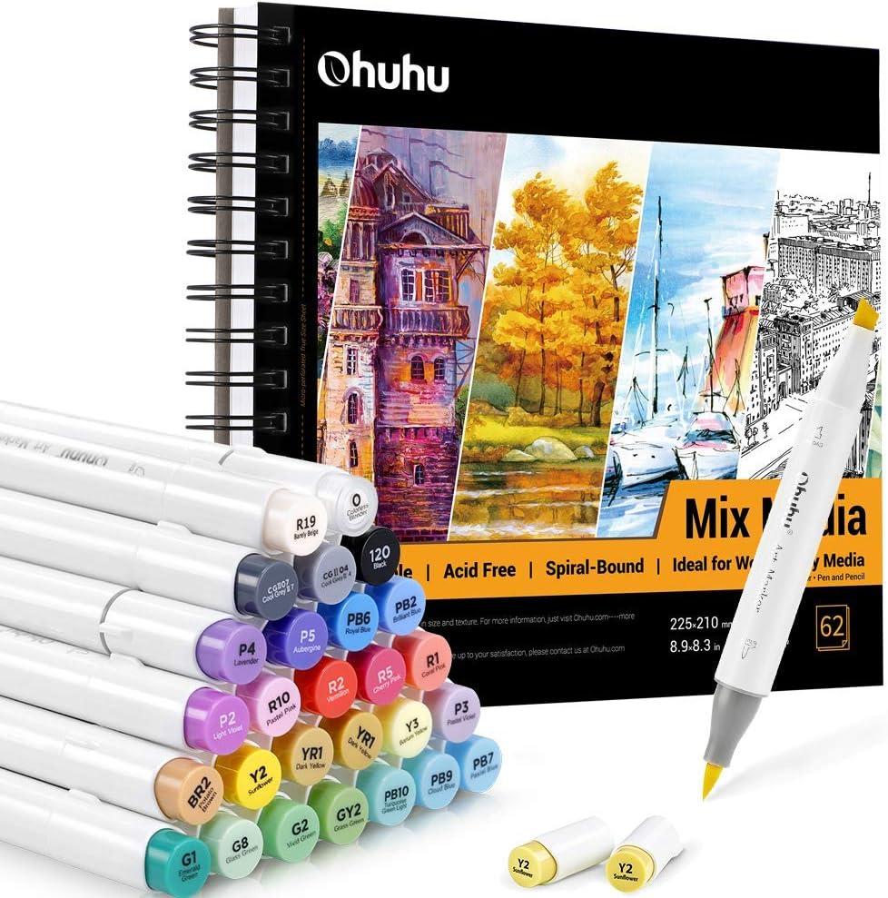 Ohuhu Alcohol Art Markers Brush Tip, Double Tipped Alcohol Based Markers+Mix Media Pad, Ohuhu 8.9