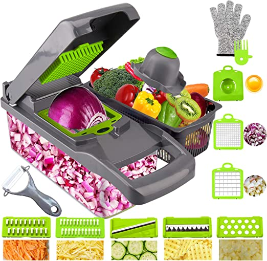 Cortador de verduras de mandolina cortador y rallador 12 en 1 picador de verduras con contenedor gris cortador de verduras cebollas patatas