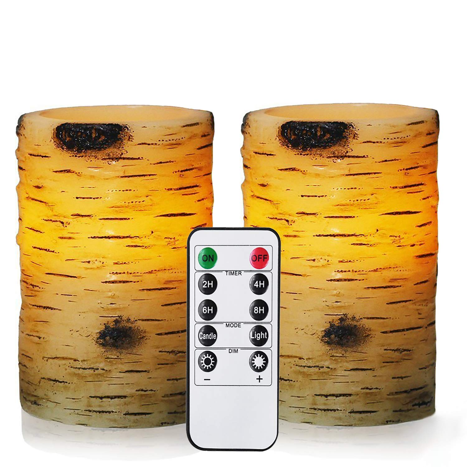 """Bingolife Real Wax Birch Bark Effect Flameless LED Candles 3.25"""" x 5"""" with Remote Control & Timer - Set of 2 AX-AY-ABHI-117039"""