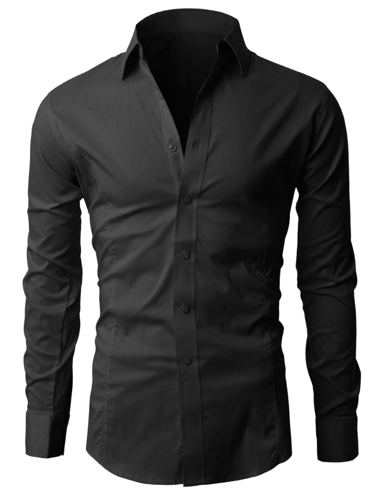 Lyon Becker® Men's Shirts Long Sleeve Slim Fit Casual Formal Shirt Basic Plain Dress Office PS01