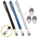 aibow タッチペン スマートフォン タブレット スタイラスペン iPad iPhone Android 3本+ペン先3個 8mm (ブルー+ブラック+ホワイト)