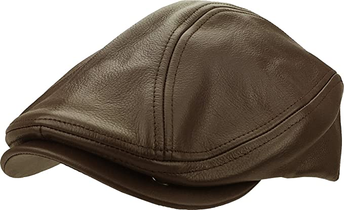 df1a86102bb KBETHOS Genuine Leather Gatsby Flat Ivy Ascot Hat Cap - BRN - S-M ...