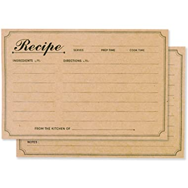 Recipe Cards 4x6  Double Sided (Set of 50) Perfect for Pioneer Woman, Bridal Shower and Rustic Kitchen (Kraft Brown)