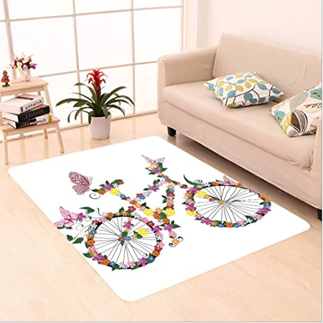 Amazon Com Nalahome Custom Carpet Ion Bike With Flowers Butterfly