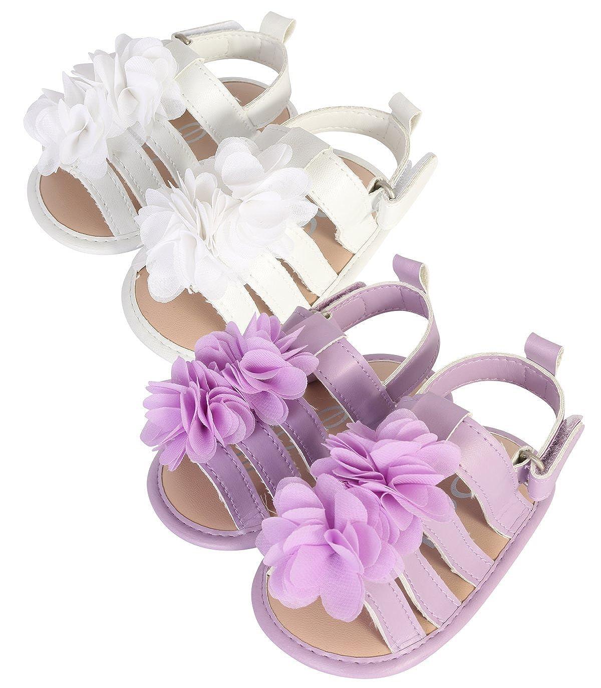 bebe Baby Girls Gladiator Flower Sandal Set Of 2 (Infant/Toddler)