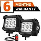 Autofy Aluminium and ABS Plastic SMD 6 LED Bar Light for Bikes Cars SUV ATV (Black, FBAAFWLIGHT0001) - Set of 2