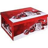 Aufbewahrungsbox mit Deckel Weihnachtskugeln Rot Aufbewahrung Box Kiste Karton 51 x 37 x 24 cm